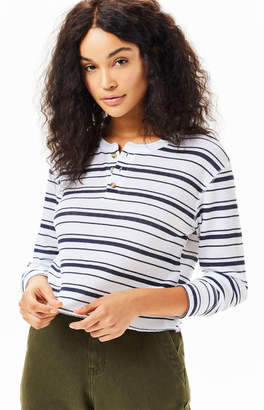 Me To We Striped Jarred Waffle Knit Long Sleeve T-Shirt