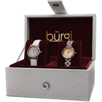 Burgi Women's BUR133RG Genuine Crystals Analog Display Quartz Watch Set