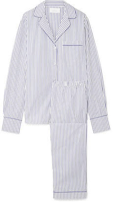 Three J NYC Moss Striped Cotton-poplin Pajama Set - White