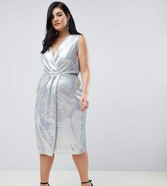 Asos Tfnc Plus TFNC Plus sequin midi wrap dress in silver iridescent