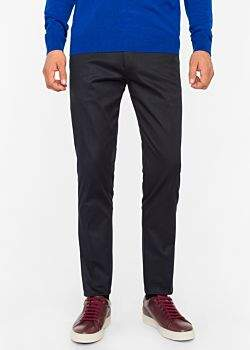 Paul Smith Men's Slim-Fit Dark Navy Stretch-Cotton Twill Trousers