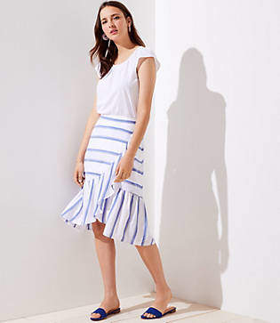 LOFT Petite Striped Ruffle Wrap Skirt