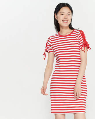 MICHAEL Michael Kors Striped Lace-Up Sleeve T-Shirt Dress