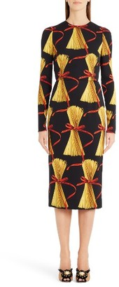 Women's Dolce&gabbana Pasta Print Stretch Silk Dress $2,995 thestylecure.com