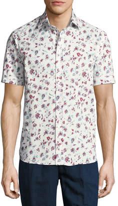 Etro Floral-Print Short-Sleeve Cotton Shirt, White