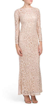 Long Sleeve Sequin Lace Gown