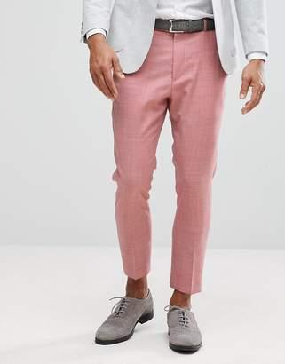 Asos Design WEDDING Tapered Smart Pants In Pink 100% Wool