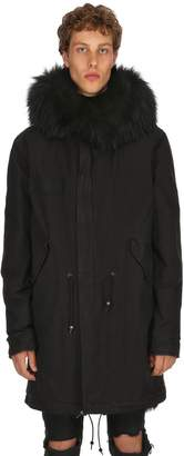 Mr & Mrs Italy Cotton Canvas Parka W/ Fur Trim & Lining