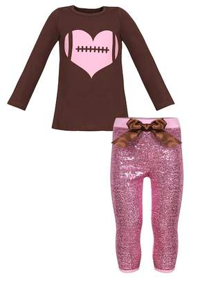 Mia Belle Girls Long Sleeve Heart Football Top & Sequin Leggings Set (Toddler, Little Girls, & Big Girls)