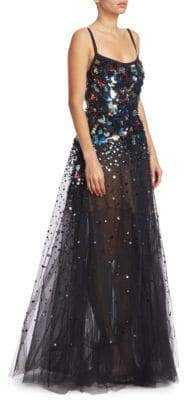 Elie Saab Sequin-Embroidered Tulle Gown