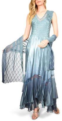 Komarov Charmeuse & Chiffon Maxi Dress with Shawl