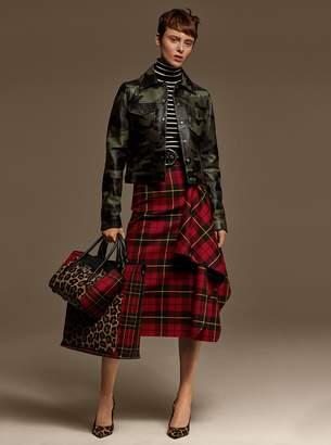 Michael Kors Tartan Wool Asymmetric Draped Skirt