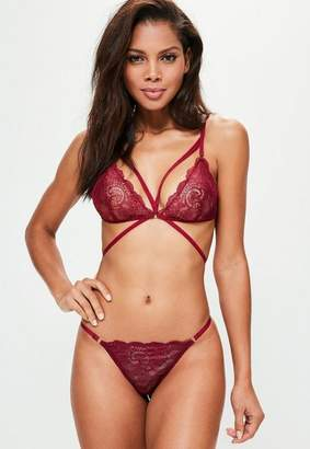 Missguided Lace Triangle Bra Burgundy