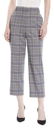Tibi Taylor Lucas Suiting Plaid High-Rise Straight-Leg Pants