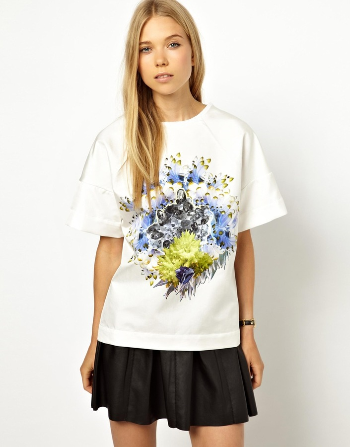 Louise Amstrup Bonded Silk Shell Top with Placement Print