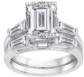 Swarovski Pure Perfection Certified Bridal Pure Perfection Certified Bridal Ring with Emerald-Cut Stone Made with Zirconia