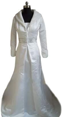 Dobelove Women's Fur Collar Winter Wedding Coat Outfit