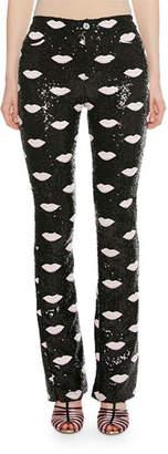 Giambattista Valli Lip-Embroidered Skinny Sequin Pants