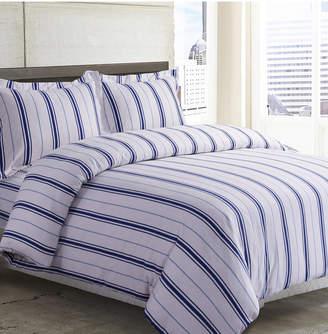 Tribeca Living Stripe Cotton Flannel Printed Oversized King Duvet Set Bedding