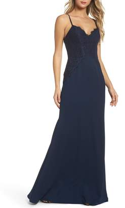 Paige Hayley Occasions Lace & Crepe Trumpet Gown