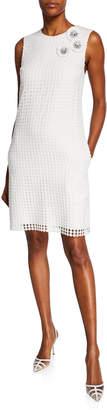 Badgley Mischka Floral Lace Embellished Shift Dress