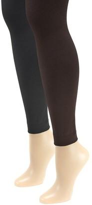 Muk Luks Women's Fleece-Lined Footless Tights 2-Pair Pack