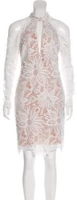 Nicole Miller Cold-Shoulder Guipure Lace Dress