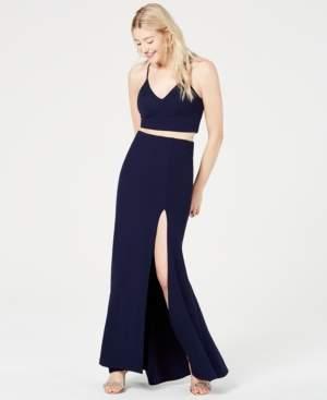 B. Darlin Juniors' 2-Pc. Lace-Back Slit Gown