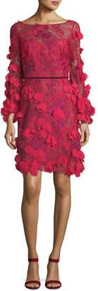 Marchesa 3D Floral Long-Sleeve Cocktail Dress