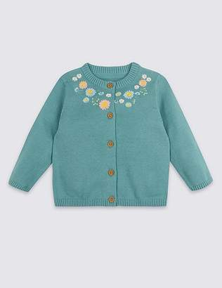 Marks and Spencer Pure Cotton Embroidered Cardigan