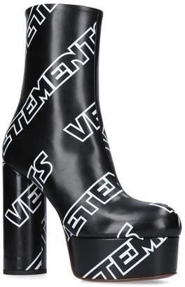 Vetements Leather Logo Platform Boots 130