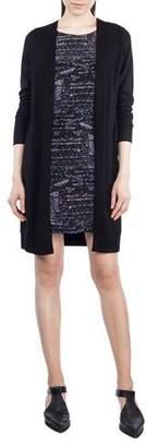 Akris Punto Round-Neck Long-Sleeve Printed Silk-Front Sweaterdress