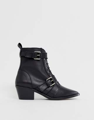 Office Ambassador leather black lace up two buckle ankle boot