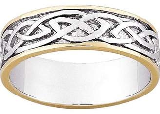 Celtic Generic Sterling Silver Two Tone Wedding Band