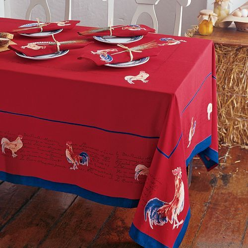 Rooster Print Tablecloths, Claret