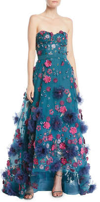 Marchesa Strapless Ball Gown w/ 3D Petals
