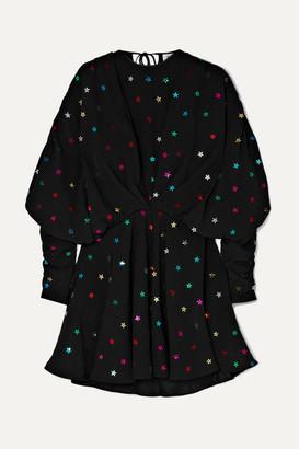 db6f562830bf7 ATTICO Gathered Sequin-embellished Crepe De Chine Mini Dress - Black