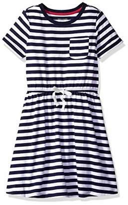 Amazon Essentials Little Girls' Short-Sleeve Elastic Waist T-Shirt Dress