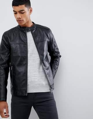 Burton Menswear faux leather racer jacket in black
