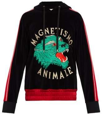 Gucci Tiger Applique Velvet Hooded Sweatshirt - Mens - Black Multi
