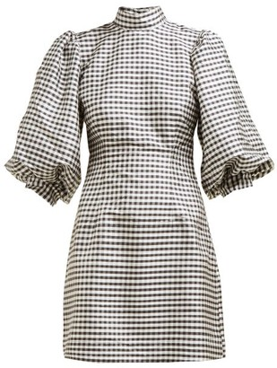 Ganni Gingham Check Silk Mini Dress - Womens - Black White