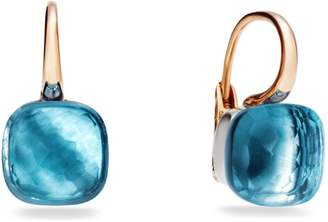 Pomellato Large Nudo Blue Topaz Rose Gold Earrings