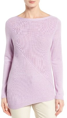 Women's Nordstrom Collection Asymmetrical Textured Cashmere Pullover $249 thestylecure.com