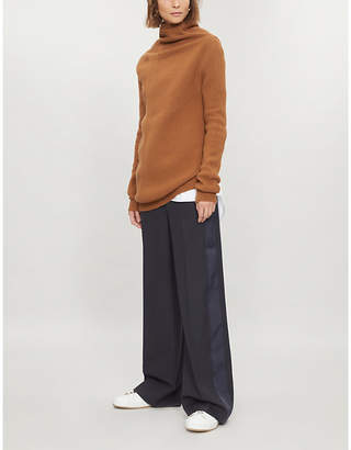 Victoria Beckham Victoria High-rise wide-leg wool-crepe trousers
