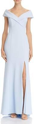 Aqua Off-the-Shoulder Crepe Dress - 100% Exclusive