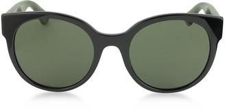 Gucci GG0035S 002 Black Optyl Round Women's Sunglasses w/Red-Green Glitter Temples