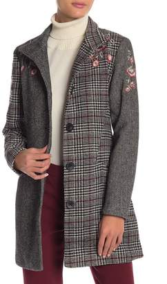 Desigual Melan Embroidered Tweed Coat