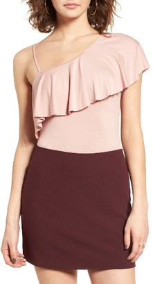 Women's Socialite Ruffle One-Shoulder Bodysuit $29 thestylecure.com