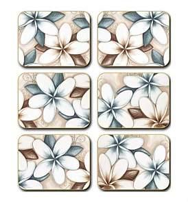Cinnamon Ocean Frangipani Coasters Set Of Six
