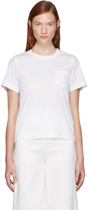 Sacai White Classic Shirting Pleated Shirt $410 thestylecure.com